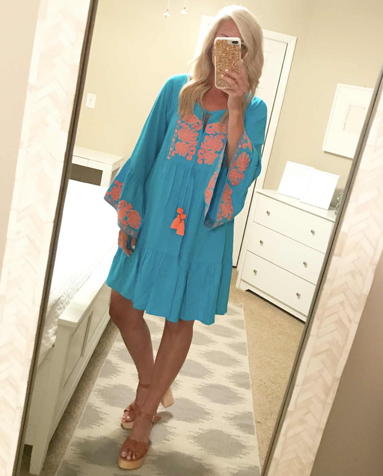 76a3f89519dd7b Amisa Tunic Dress – I'm still obsessed with the color combo of this dress!  Such a pretty dress! It runs a tad big, but I still with a small.