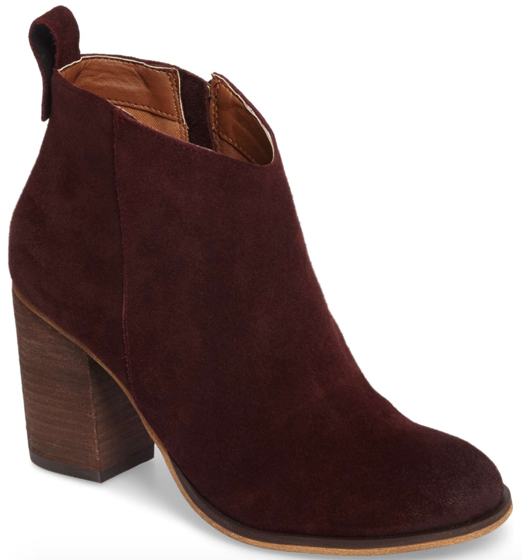 5d64b367f Love the color of these wine suede booties. Because they're a little higher  than some of the other booties out there, you can easily wear a low sock  and it ...